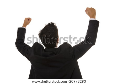 A business man celebrating his success - stock photo