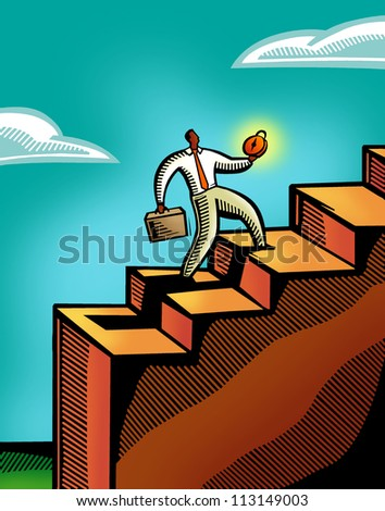 A business man climbing a flight of stairs - stock photo
