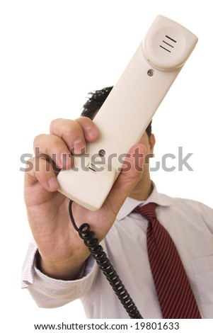 A business man giving a telephone to someone - stock photo