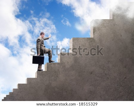 A business man is climbing up stairs that get larger and larger. A cloudy sky is in the background. - stock photo