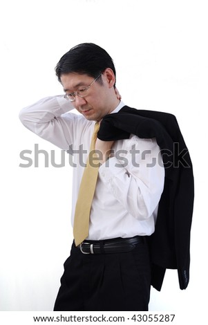 A business man is exhausted - stock photo