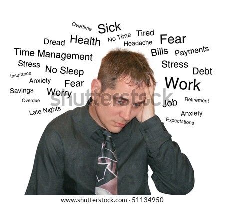 A business man is isolated on a white background and has text describing his worries and fears from work to debt. - stock photo