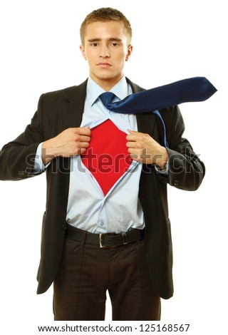 A business man, isolated on white background - stock photo