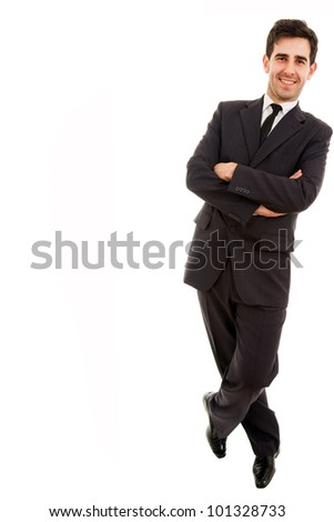 A business man leaning on white background - stock photo
