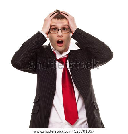 A business man looks like he is under pressure. - stock photo