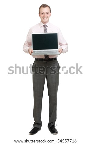 A business man presenting on a laptop - stock photo