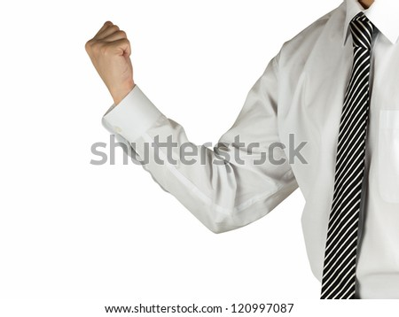A business man pumping his fist into the air isolated on white background - stock photo