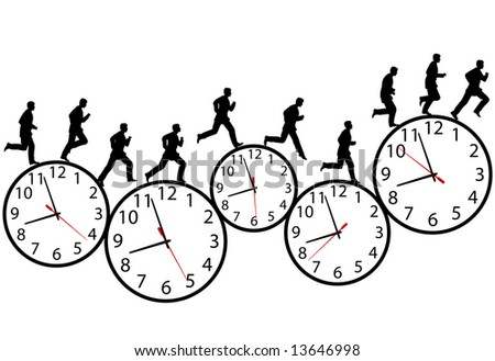 A business man runs in a hurry runs on time. Through the business day on a row of time clocks. Animation-like sequence of frames. - stock photo