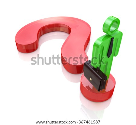 A business man stands on a question mark symbol to search find solution in the design of information related to the issues and business - stock photo