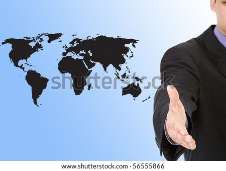 A business man with an open hand with world map background - stock photo