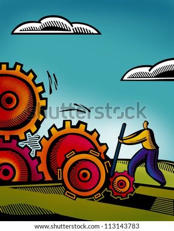 A business man working on inter connected gears - stock photo