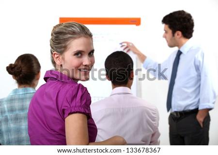 A business presentation - stock photo