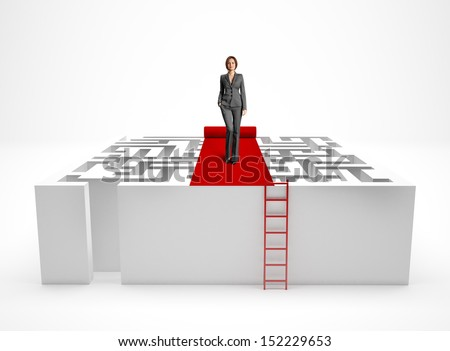 A business woman and a maze - stock photo