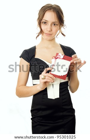 A business woman offering her card - stock photo