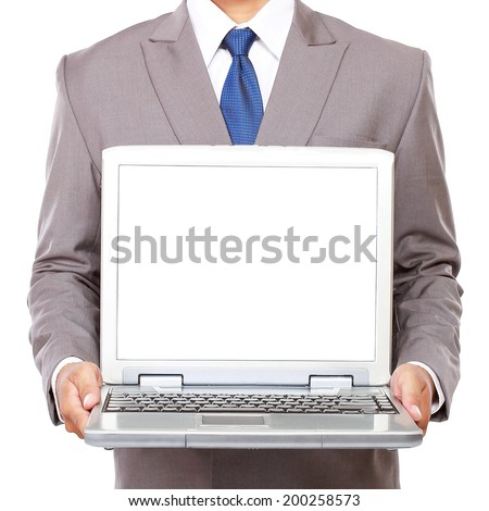 a businessman carrying a laptop, isolated on white background - stock photo