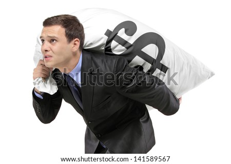 A businessman carrying a money bag with US dollar sign isolated against white background - stock photo