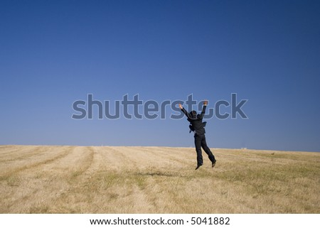 A businessman felling the nature freedom - stock photo
