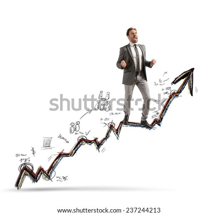 A businessman gets success in his work - stock photo