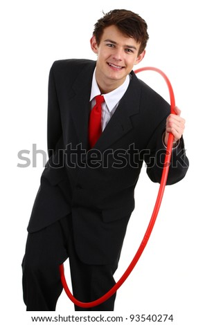 A businessman going through a hoop to show challenges, isolated on white - stock photo