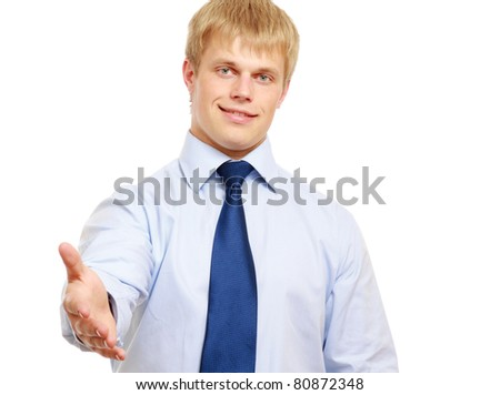 A businessman is offering to shake hand on white - stock photo