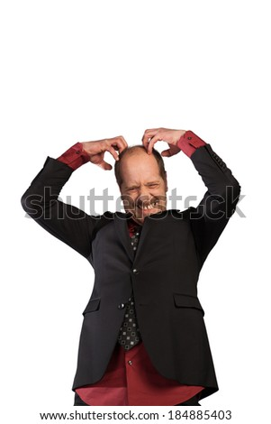 A Businessman is scratching his head isolated on a white background. - stock photo