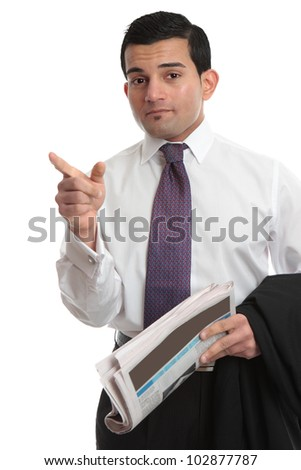 A businessman pointing his finger.  White background. - stock photo