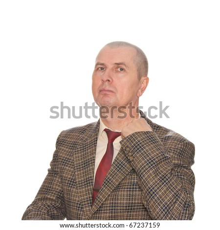 A businessman pulling his collar. Isolated on white. Body language. Manifest of telling untruth. - stock photo