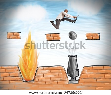 A businessman runs to overcome difficult obstacles - stock photo