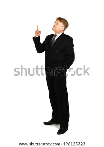 A businessman showing something , isolated on white background - stock photo