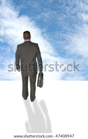 A businessman walking into the futuristic unknown sky, taking risk and looking for vision. - stock photo
