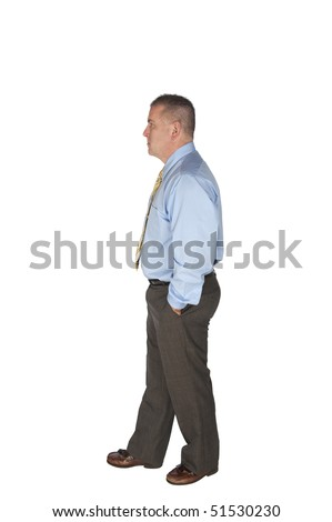 A businessman walking isolated on white for designers to use in their work. - stock photo