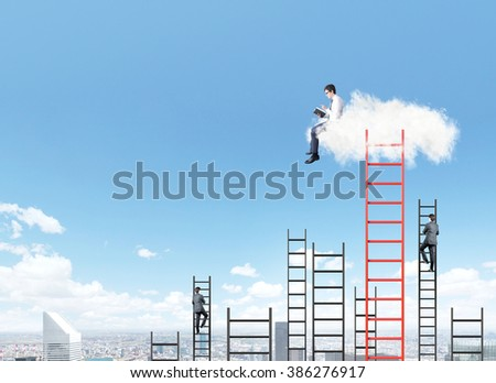A businessman with a book sitting on a cloud over Paris, two businessman climbing several ladders to the blue sky under the cloud. Side view. Concept of dream and aspirations. - stock photo