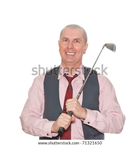 A businessman with a golf club isolated over a white background. - stock photo