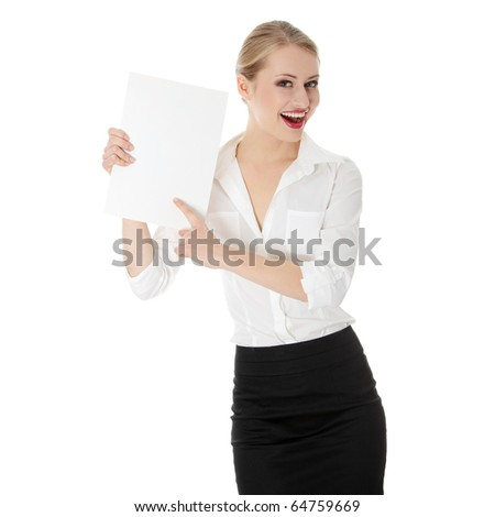 A businesswoman holding white board. Isolated - stock photo