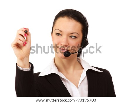 A businesswoman with a headset writing isolated on white background - stock photo