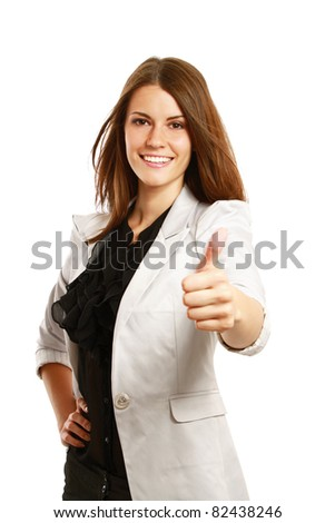 A businesswoman with thumb up sign, isolated on white - stock photo