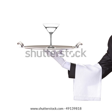 A butler holding a tray with cocktail on it isolated on white - stock photo