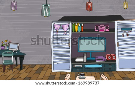A cabinet with a television a stereo and books. - stock photo