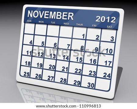 A calendar of November 2012 on a shiny background. - stock photo