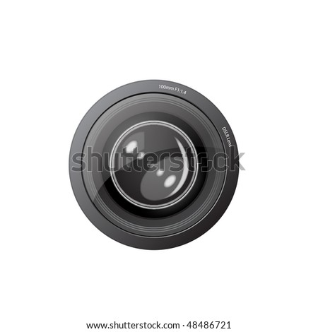 A camera lens  illustration with realistic reflections - stock photo