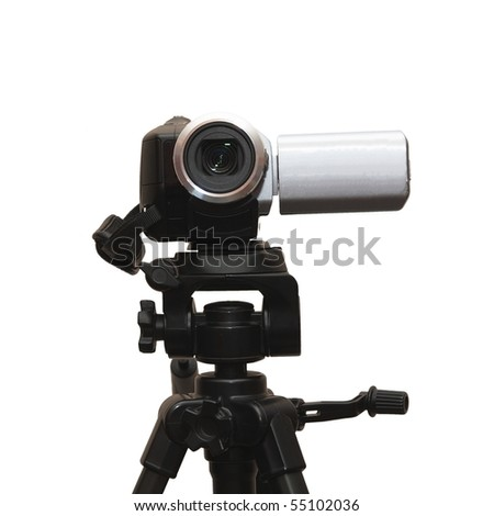 a camera on tripod isolated on white - stock photo