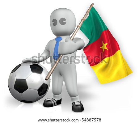 A Cameroon football fan with a flag and a ball in South Africa - stock photo