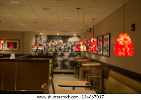 A campus cafe shop, focus on the pretty light - stock photo