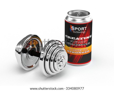 A can of Creatine micronized for body building Isolate on white background - stock photo