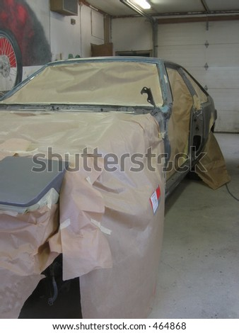 A car made ready for a paint job. - stock photo