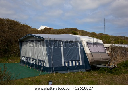 a caravan on a dutch camping - stock photo