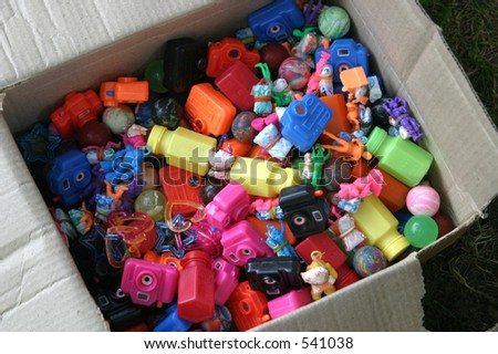 a cardboard box of prizes - stock photo