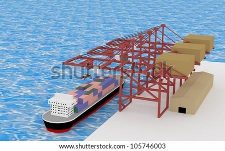 A cargo ship with 3D ocean transportation cranes - stock photo