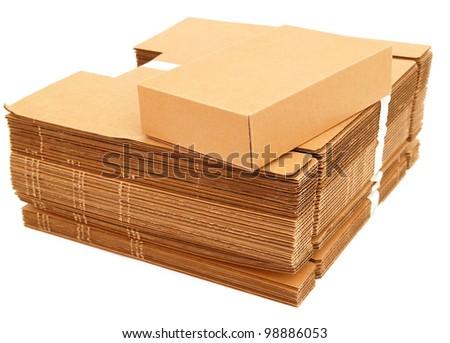 A carton boxes on white background - stock photo