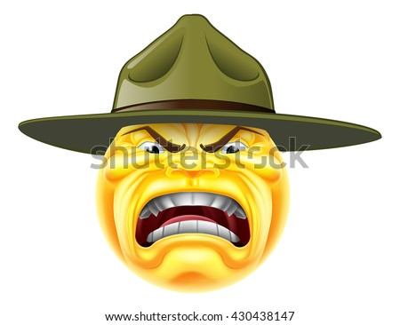 A cartoon angry emoji emoticon army boot camp drill sergeant shouting - stock photo